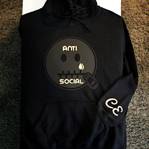 Anti 🤐 Social CE Black on Black (Gold Glit) Font
