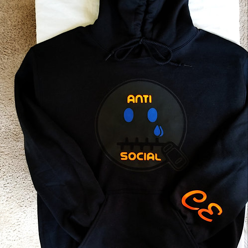 Anti 🤐 Social CE Hoodie Black on Black, Neon Orange, Royal Blue