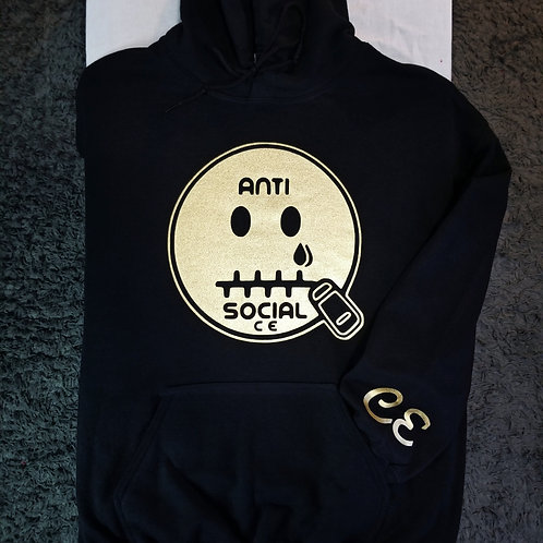 Anti 🤐 Social CE Hoodie Black and Metalic Gold