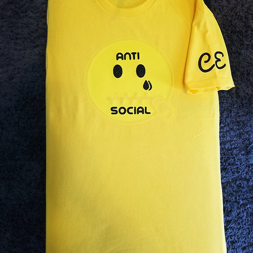 Anti🤐Social CE Yellow on Yellow Black Glitter Words