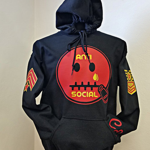 Anti 🤐 Social CE Military Addition Black, Red, Metallic Gold