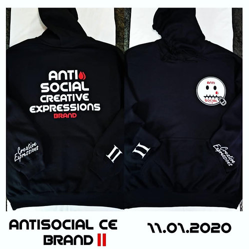Anti 🤐 Social CE II 🏁 Black and White Hoodie