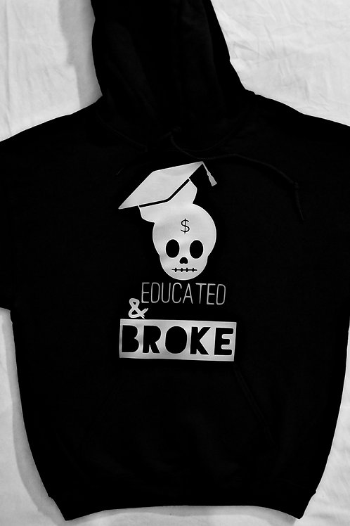 EDUCATED & BROKE$ CE Hoodie Black & Silver