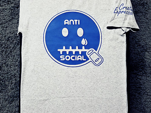 Anti 🤐 Social CE Light  Grey & Royal Blue