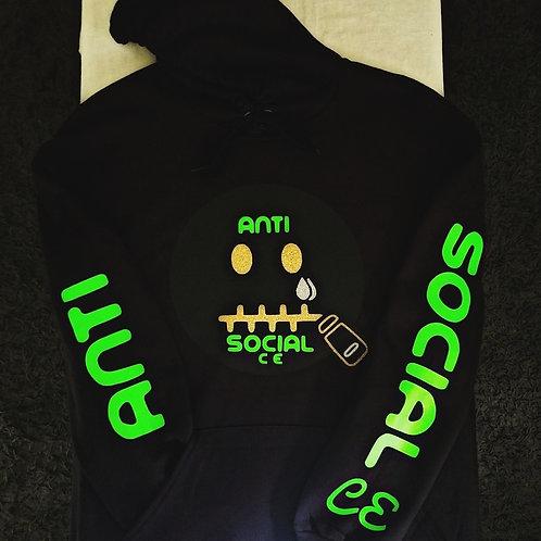 Anti 🤐 Social CE Black, Lime Green, Gold Glit
