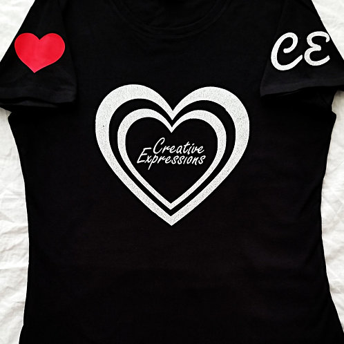 Creative Expressions #Vday❤ T-Shirt Black & Silver (Glit) Women