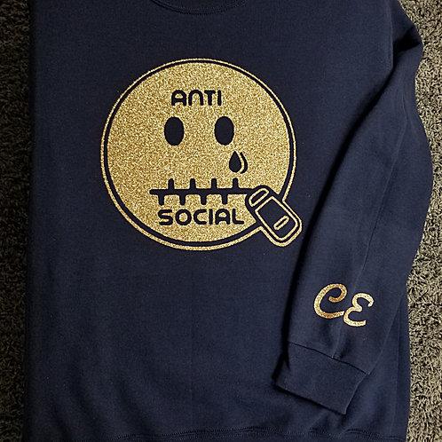 Anti 🤐 Social CE Sweatshirt Navy and Gold (Glitter)