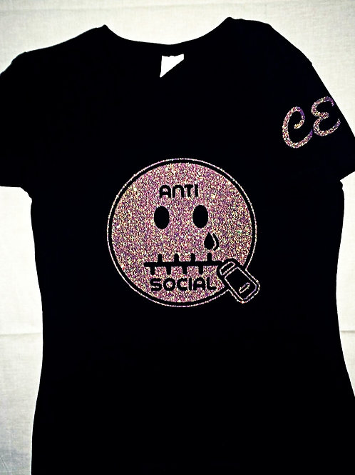 Anti 🤐 Social CE Black & Pink Glitter Women