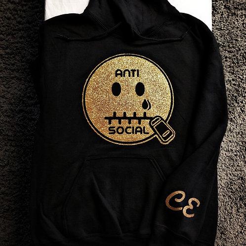 Anti 🤐 Social CE Hoodie Black & Gold
