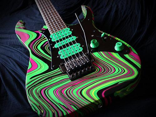 Green/Pink Swirled Ibanez RG1550