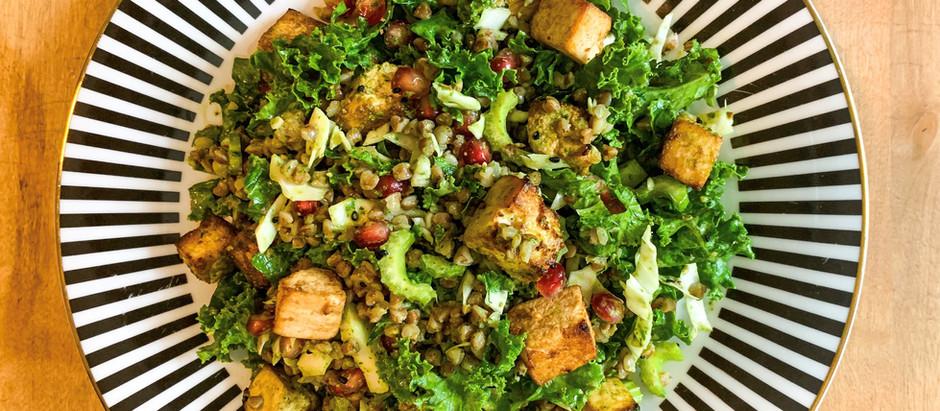 Kale and Buckwheat salad with Tofu and Green Tahini