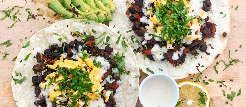 Dairy Free Breakfast Tacos with black bean salsa and Tahini Sauce