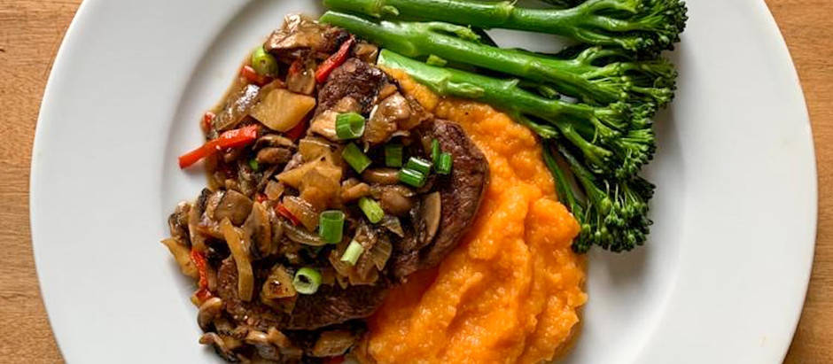 Dairy free Vegetable mash with Beef Fillet and Celeriac Chili Jam