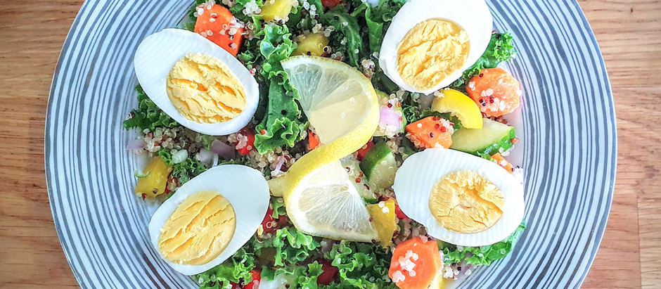 Kale and Quinoa Salad with boiled Eggs
