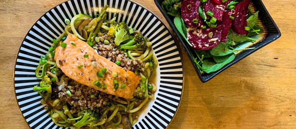 Veggie packed Zoodles with Buckwheat and oven baked Salmon