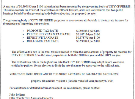 Notice of 2019 Tax Year Proposed Property Tax Rate.