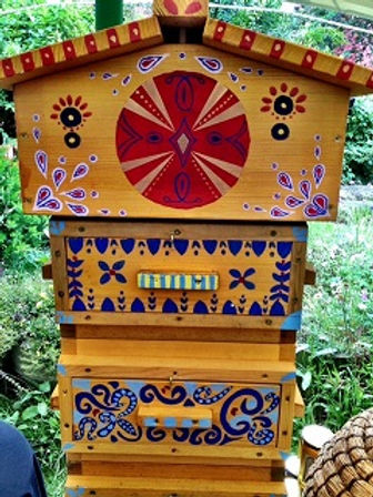 Decorated Warre Hive