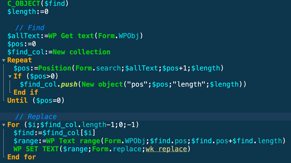 Code pour le Chercher/Remplace dans un document Write Pro