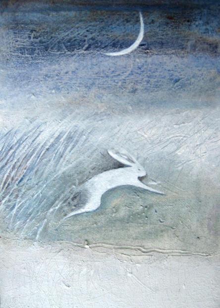 running hare & crescent moon