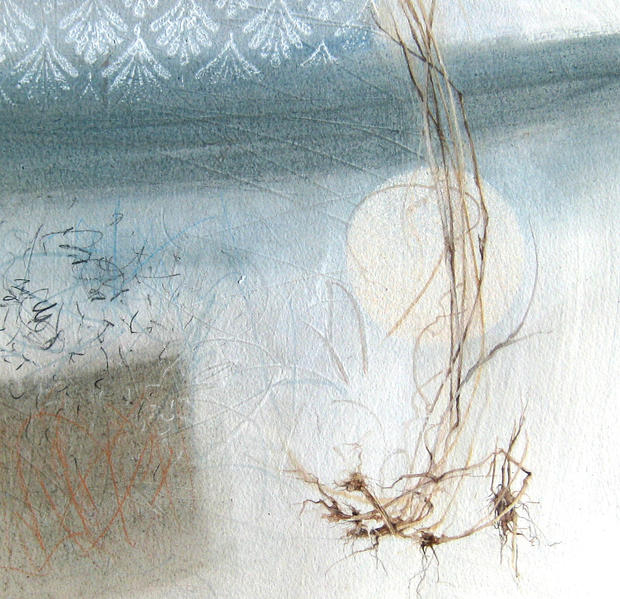 winter drawing, frost and full moon