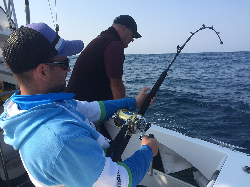 Hooked to a fiesty Black Marlin off Bermagui