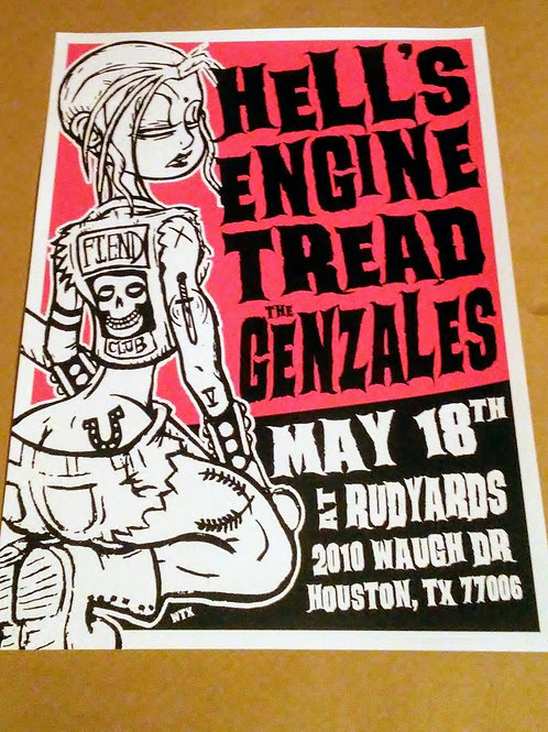 hells engine, tread 18' x 24' screen print poster