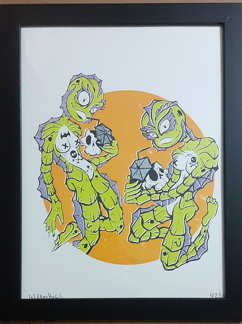 "9"" x 12"" framed screenprint ""party on monster beach"