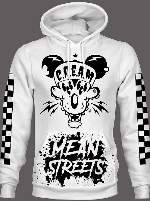 MEAN STREETS WHITE HOODIE (PULLOVER)