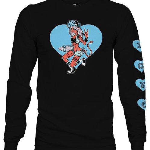 skater girl valentine long sleeve shirt