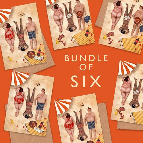 Naked & Clothed Sunbathers-Bundle of 6