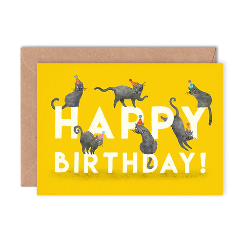 Happy Birthday Cats Greetings Card