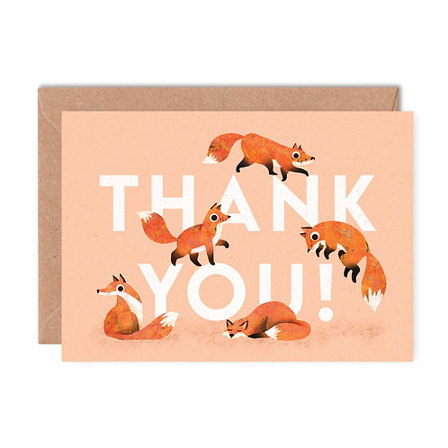 Thank You Foxes Greeting Card