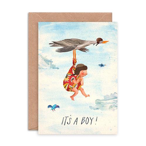 It's a Boy Stork Greetings Card