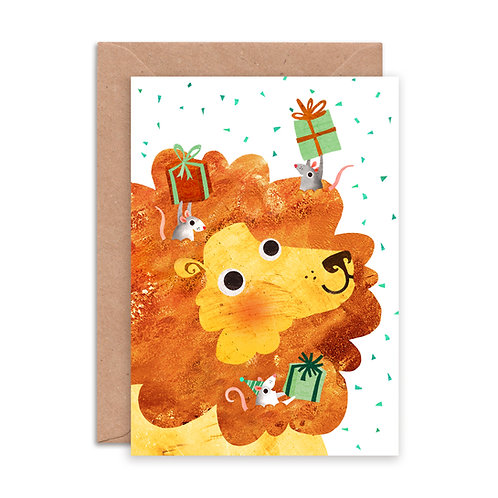 Lion & Mice Greetings Card