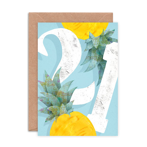 Pineapple Twenty One Greetings Card