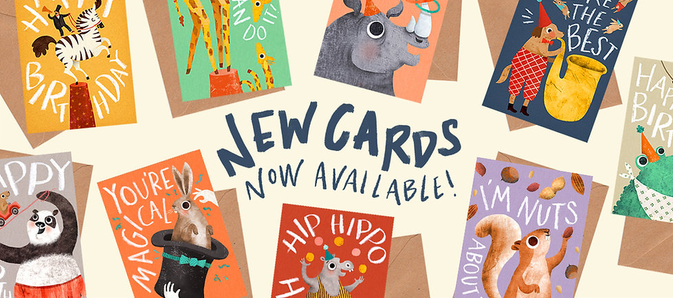Circus illustrated greeting cards