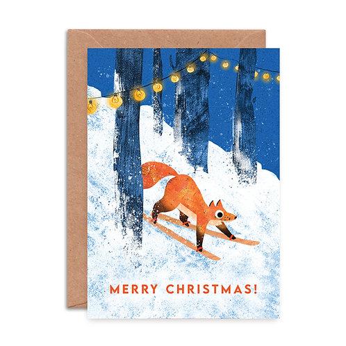 Skiing Fox Christmas Card