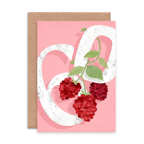 Raspberry Sixty Greetings Card