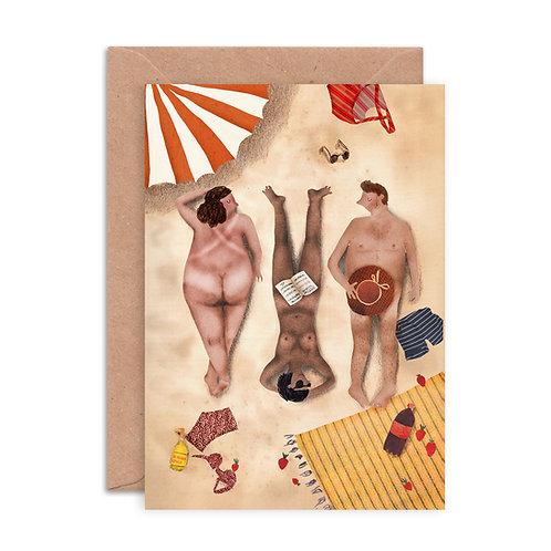 Cheeky Sunbathers Greetings Card