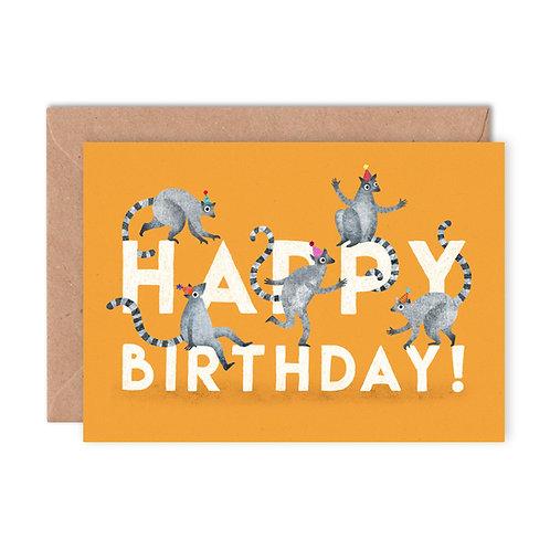 Birthday Lemurs Greetings Card