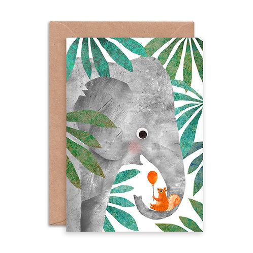 Elephant & Squirrel Greetings Card