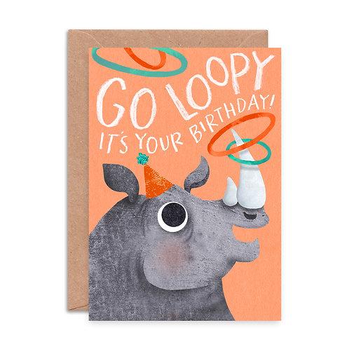 Go Loopy Rhino Birthday Card