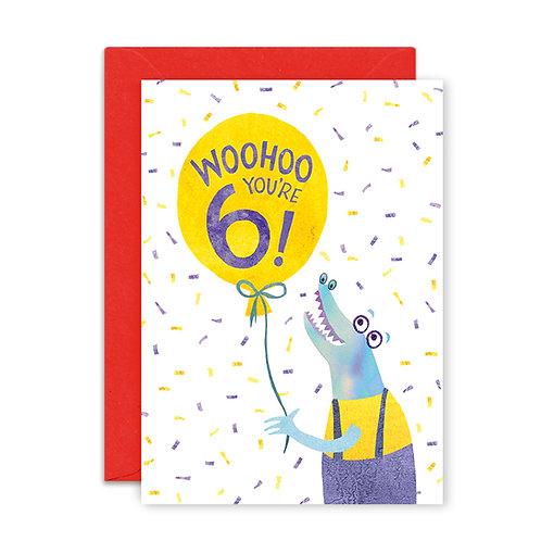 Six Years Crocodile Greetings Card