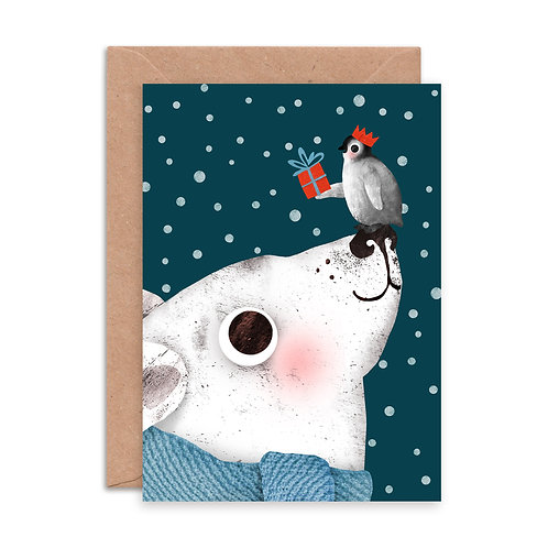 Polar Bear & Penguin Greetings Card