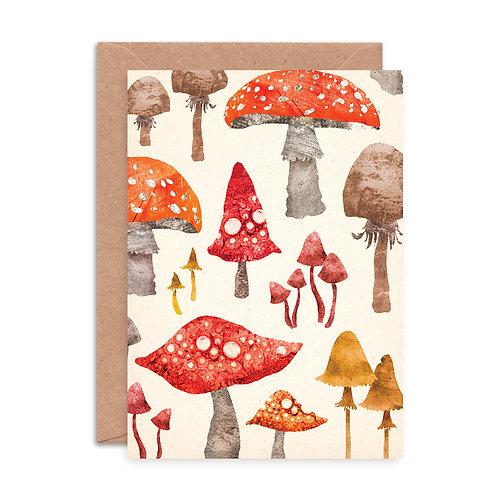 Toadstool Pattern Greetings Card