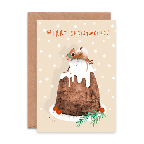 Christmas Pud Mouse Christmas Card