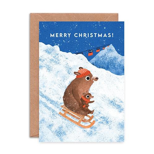 Sledging Bears Christmas Card