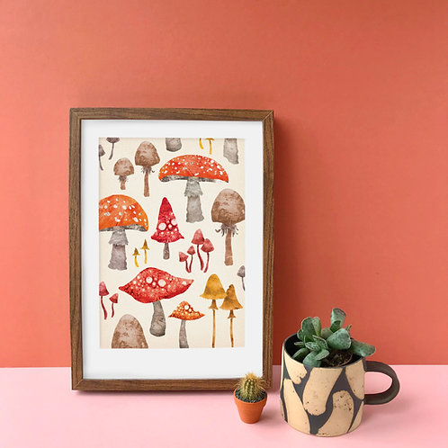 Toadstool Recycled A4 Art Print