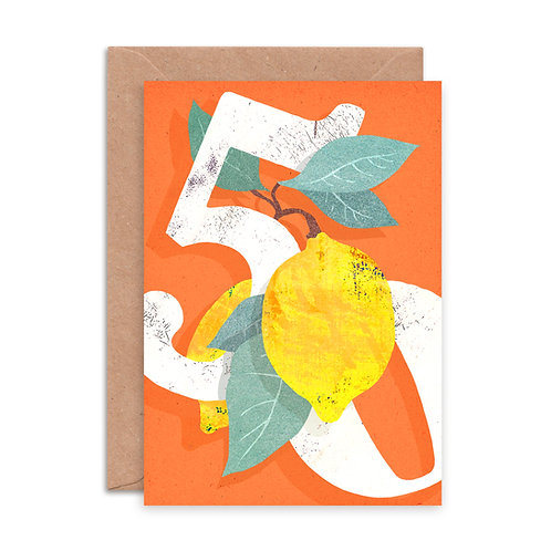 Lemon Fifty Greetings Card