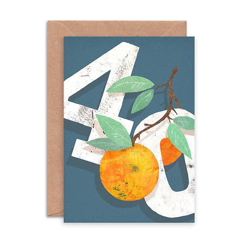 Orange Forty Greetings Card
